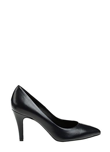Divarese İnce Kısa Topuklu Deri Ayakkabı Lacivert